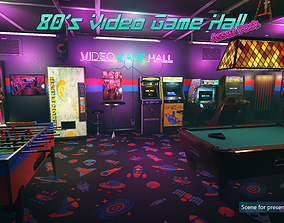 3D model Low-Poly 80s Video Game Hall Pack