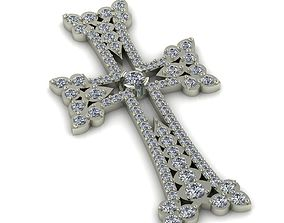 3D printable model jewel Armenian cross with gems