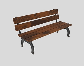 PBR bench 3d lowpoly
