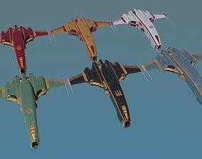 Spaceship Dagger Type 1 Merged Pack 3D model VR / AR ready