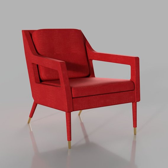 Red upholstered Armchair with metal legs