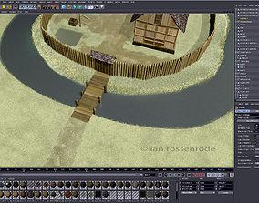 3D model Moated medieval fort village