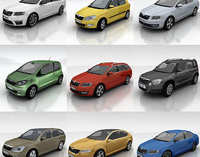 3D model 10 Skoda cars collection