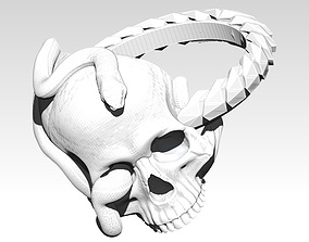 Snake Ring with Skull 3D printable model