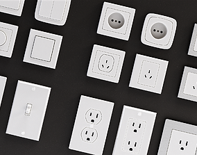 3D asset Power outlets and Lights Switches Pack