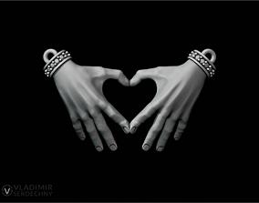 Pendant Hands together 3D print model