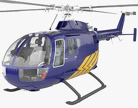 MBB BO 105 with HQ interior 3D model