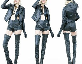 Hot Girl in Black Leather Boots jacket Hat 3D model