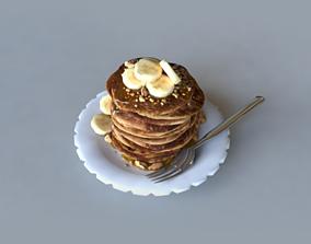 Pancakes with Banana 3D asset