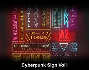 3D asset Cyberpunk Sign Vol1