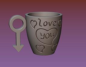 3D printable model Cup with gender symbol printing