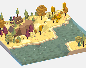 3D asset Isometric style autumn mountain landscape river