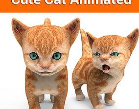3D asset low-poly Cartoon Cat Animated