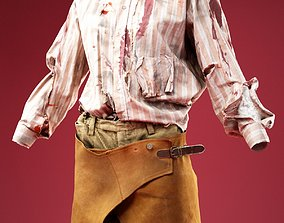 3D asset Cowboy in Bloody Shirt and Chaps