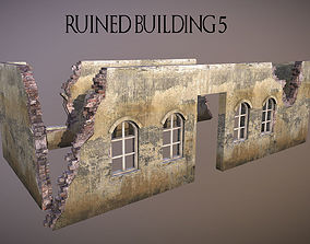 3D asset Ruined Building 5