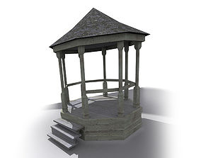 3D model wooden gazebo