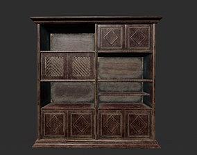 3D asset Old Bookcase