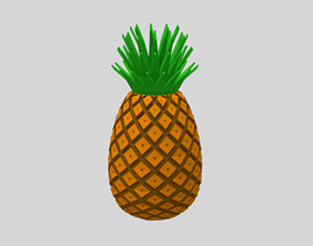 3D asset Low Poly Cartoon Pineapple