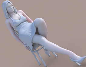 Woman sit on chair 3D print model