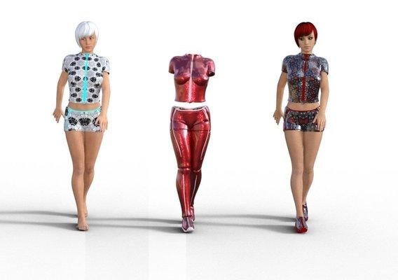 Line clothes - Genesis 3 female VR / AR / low-poly 3D model