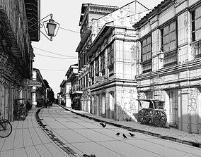 3D model Antique Buildings With A Street