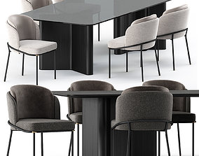 3D model FIL NOIR chair and LOU Dining Table by Minotti