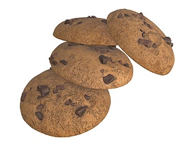 Cookies with chocolate pieces 3D