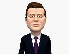JFK caricature low poly rigged pbr 3D model animated