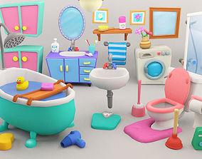 Cartoon Bathroom Package 3D asset