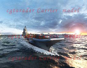 3D asset animated aircraft carrier