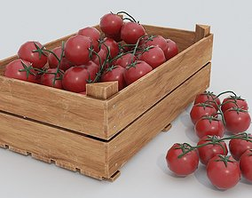3D model Wooden crate and tomatoes