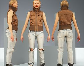 3D asset A Pose Blonde in Leather Jacket and Jeans
