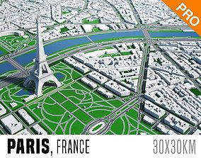 3D model Paris City And Surroundings France Low Poly VR