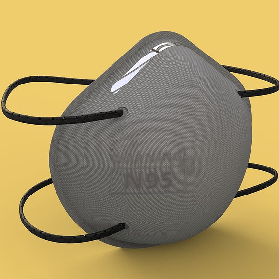 3M N95 Disposable Respirator Mask Low-poly 3D model