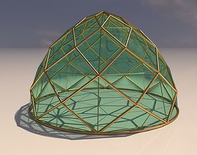 3D model Pointed dome triangulated with glass enclosure