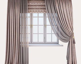 3D model Pink velour curtains with a gold print