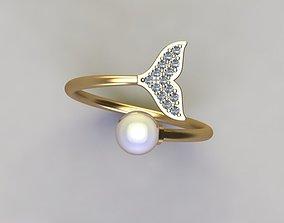 pearl ring rings silver 3D print model