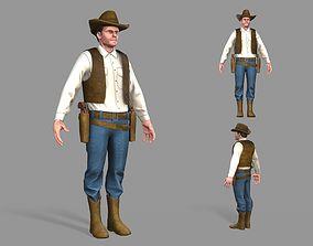 Cowboy 3D asset low-poly