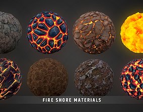 3D model Stylized Fantasy Fire Shore Landscape Material