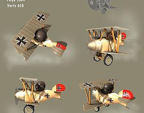 Low poly WW1 Cartoon Biplane 3D model