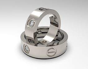 Rings with bolt heads and diamonds 3D printable model