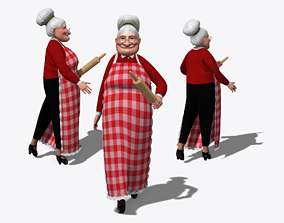 Rigged Grandma Old Woman Character 3D model