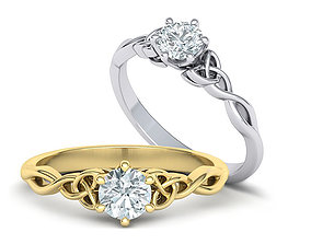 Solitaire Knot Engagement ring 3dmodel