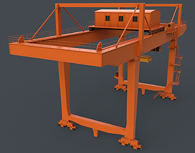 PBR Rail Mounted Gantry Crane RMG V2 - Orange 3D asset