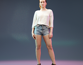 Jeans Short and Knit White Pull Girl 3D asset