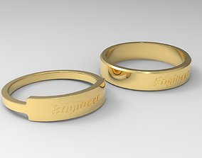 Engineer Couple Ring Gold 3D printable model