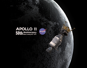Apollo command Service module and Lunar Module 3D asset