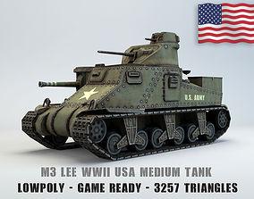 3D model Low Poly M3 Lee medium tank