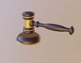 3D model VR / AR ready Judge Hammer