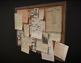 Police Pinboard 3D model game-ready PBR